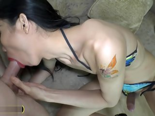 thai Big gumshoe Thai ladyboy fucks a guy anal and takes it too dick